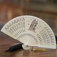 Mahogany wood fan, 'Hindu Love' - Hand-Painted Hindu Mahogany Wood Fan from Bali
