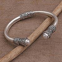 Cultured pearl cuff bracelet, 'Shared Memories' - Cultured Pearl and Sterling Silver Cuff Bracelet from Bali