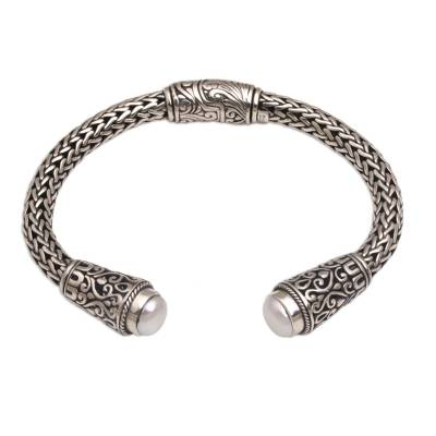 Cultured pearl cuff bracelet, 'Dragon Beauty' - Cultured Pearl and Sterling Silver Cuff Bracelet from Bali
