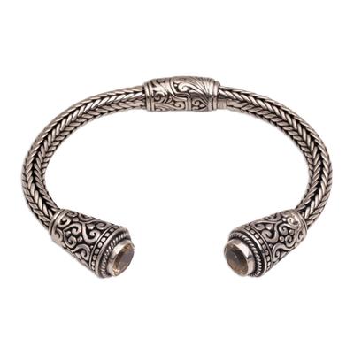 Citrine cuff bracelet, 'Temple Blossom' - Citrine Braid Motif Sterling Silver Cuff Bracelet from Bali