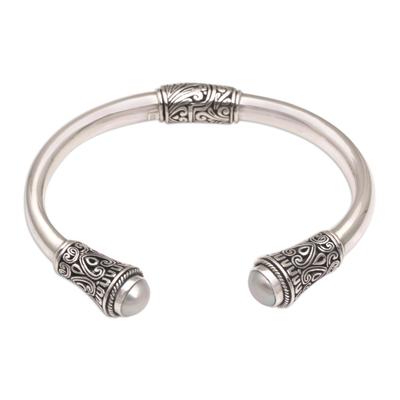 Cultured pearl cuff bracelet, 'Floral Grace' - Cultured Pearl and 925 Silver Cuff Bracelet from Bali