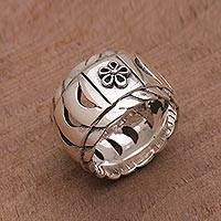 Sterling silver band ring, 'Circling Scales' - Sterling Silver Openwork Band Ring from Bali