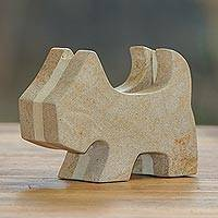 Sandstone business card holder, 'Yorkshire Helper' - Handcrafted Dog Business Card Holder from Bali