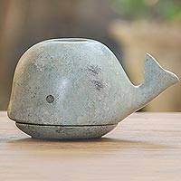 Green sandstone sculpture, 'Spouting Whale' - Green Sandstone Whale-Shaped Sculpture from Bali