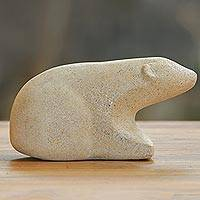Sandstone sculpture, 'Curious Polar Bear' - Handcrafted Sandstone Sculpture of a Polar Bear from Bali