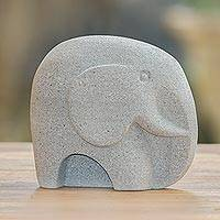Sandstone sculpture, 'Grey Elephant' - Handcrafted Grey Sandstone Elephant Sculpture from Bali
