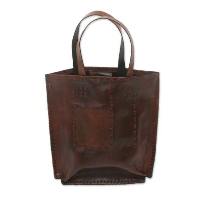 Brown Leather Tote Bag with Antique Finish from Indonesia