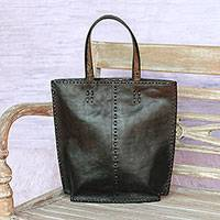 Leather tote bag, 'Kuta Pride' - Black Leather Tote Bag with Accent Stitching from Indonesia