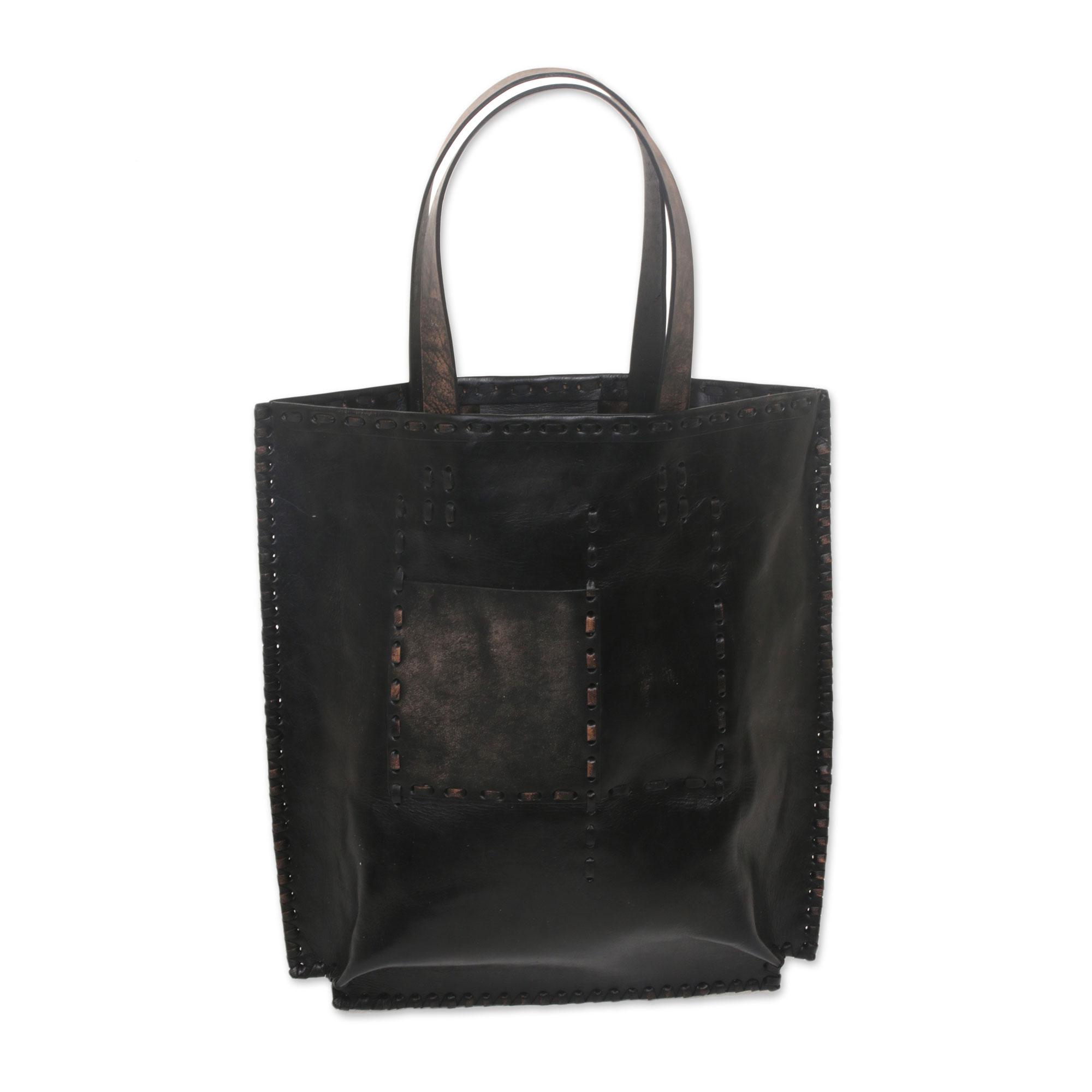 Novica Leather tote bag, Kuta Heritage