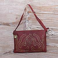 Leather shoulder bag, 'Shimmering Morning in Garnet' - Handcrafted Adjustable Leather Shoulder Bag from Java