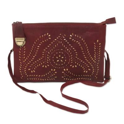 Novica Leather sling, Shimmering Morning in Garnet