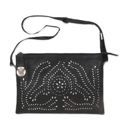 Handcrafted Adjustable Leather Shoulder Bag from Java