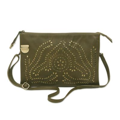 Adjustable Leather Shoulder Bag in Olive from Java