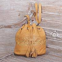 Leather bucket bag, 'Glittering Dew in Caramel' - Adjustable Leather Bucket Bag in Caramel from Java