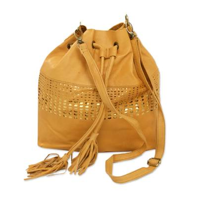 Adjustable Leather Bucket Bag in Honey from Java