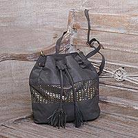 Leather bucket bag, 'Glittering Dew in Graphite' - Adjustable Leather Bucket Bag in Graphite from Java