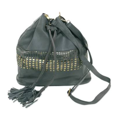 Adjustable Leather Bucket Bag in Graphite from Java