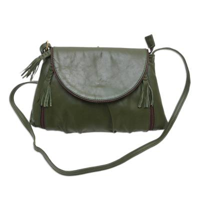 Handcrafted Adjustable Leather Sling in Olive from Java