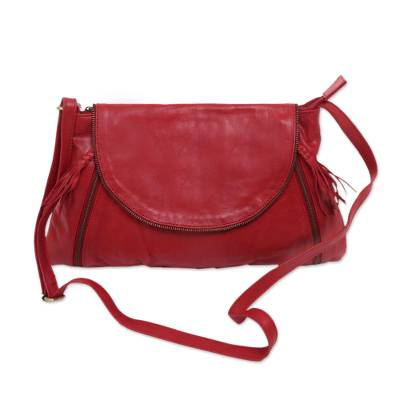 Handcrafted Adjustable Leather Sling in Crimson from Java