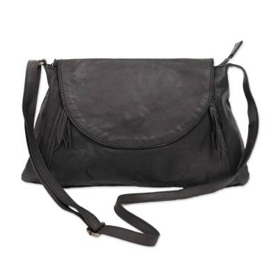 Handcrafted Adjustable Leather Sling in Slate from Java