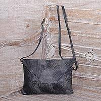 Leather sling, 'Starless Night in Charcoal' - Handcrafted Adjustable Leather Sling in Charcoal from Java