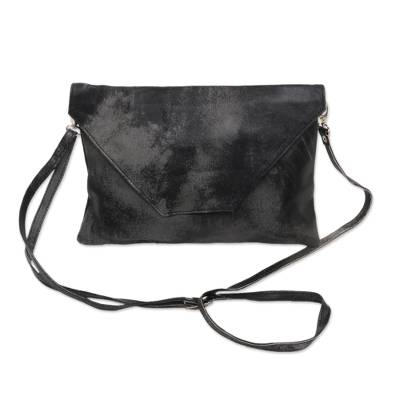 Handcrafted Adjustable Leather Sling in Charcoal from Java