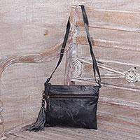Leather shoulder bag, 'Vintage Tassel in Black' - Black Leather Shoulder Bag with 2 Pockets from Java