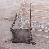 Leather shoulder bag, 'Vintage Tassel in Brown' - Brown Distressed Leather Shoulder Bag 2 Pockets from Java