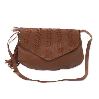 Novica Leather shoulder bag, Glory Night