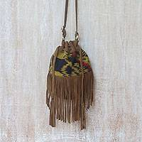 Suede shoulder bag, 'Idaman Lady in Brown' - Brown Fringed Leather Shoulder Bag with Cotton Ikat Pattern