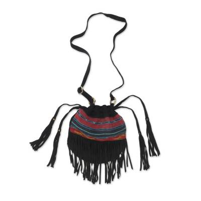 Black Fringed Suede Shoulder Bag with Cotton Ikat Pattern
