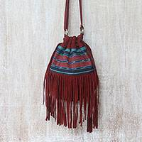 Suede shoulder bag, 'Idaman Lady in Red' - Red Fringed Suede Shoulder Bag with Cotton Ikat Pattern