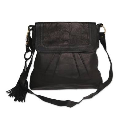 Handcrafted Leather Sling Handbag in Onyx from Java
