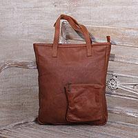 Leather shoulder bag, 'Caramel Delight' - Handcrafted Leather Shoulder Bag in Caramel from Java