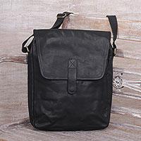 Leather sling, 'Malam Sunyi in Black'