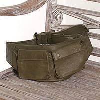 Leather waist bag, 'Uncharted Territory' - Handcrafted Leather Waist Bag in Solid Olive from Java