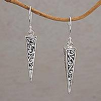 Sterling silver dangle earrings, 'Vine Pyramids' - Sterling Silver Pyramid-Shaped Earrings from Bali