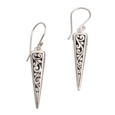 Sterling silver dangle earrings, 'Vine Pyramids' - Sterling Silver Pyramid-Shaped Earrings from Bali