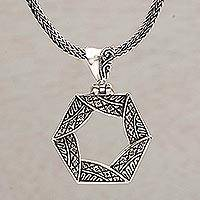 Sterling silver pendant necklace, 'Folded Songket'