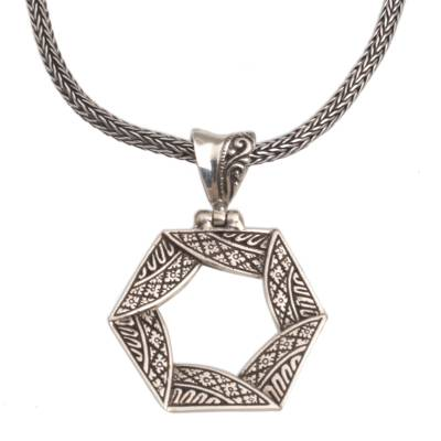 Sterling silver pendant necklace, 'Folded Songket' - Sterling Silver Hexagonal Pendant Necklace from Bali