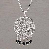 Onyx pendant necklace, 'Hope Web' - Onyx and 925 Silver Dream Catcher Pendant Necklace fro Bali