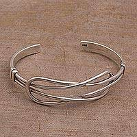 Sterling silver cuff bracelet, 'Codependent' - Artisan Crafted 925 Sterling Silver Cuff Bracelet from Bali