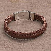 Leather wristband bracelet, 'Kintamani Braid in Brown' - Braided Leather Wristband Bracelet in Brown from Bali
