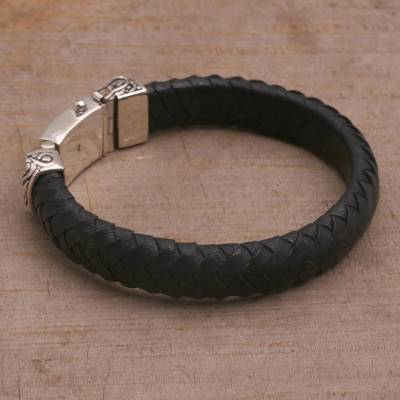 Leather wristband bracelet, 'Tranquil Weave in Black' - Braided Leather Wristband Bracelet in Black from Bali