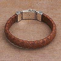 Men's leather braided wristband bracelet, 'Tranquil Weave in Brown' - Men's Leather Braided Wristband Bracelet in Brown from Bali