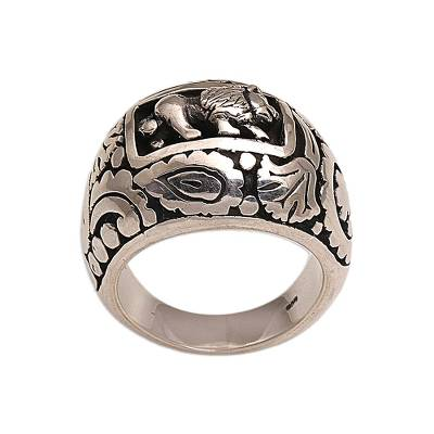 925 Sterling Silver Lion Dome Ring from Bali