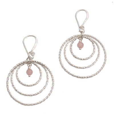 Sterling Silver and Rose Quartz Dangle Earrings from Bali
