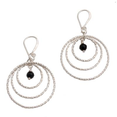 Onyx and 925 Sterling Silver Dangle Earrings from Bali