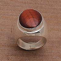 Tiger's eye single stone ring, 'World's Edge' - Tiger's Eye Single Stone Ring with a Tapered Band from Bali