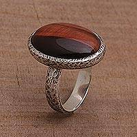 Tiger's eye single stone ring, 'Earthen Ellipse' - Tiger's Eye Single Stone Ring with an Oval Crown from Bali